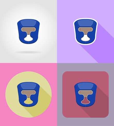 boxing helmet flat icons vector illustration