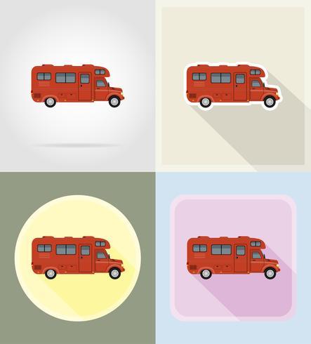 carro van caravan campista casa móvel ícones planas ilustração vetorial