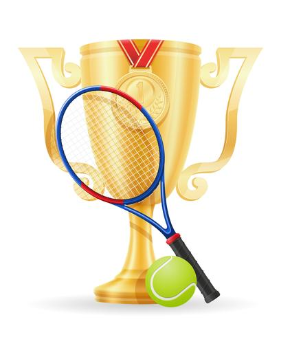 illustrazione vettoriale d'oro del vincitore della tazza da tennis