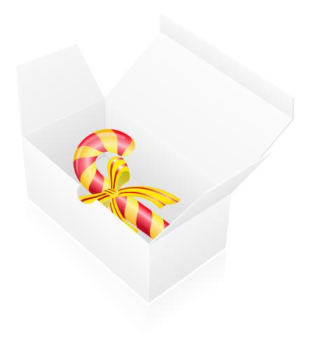 new year packing box with candy vector illustration