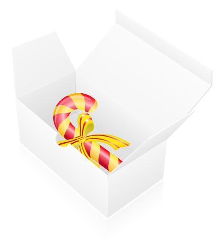 Verpackungskasten des neuen Jahres mit Süßigkeitsvektorillustration