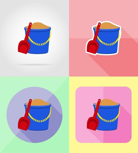 plastic bucket and shovel flat icons vector illustration