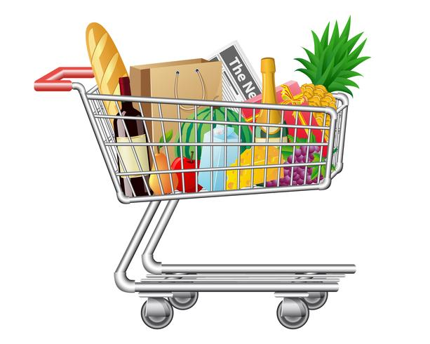 shopping cart with purchases and foods vector