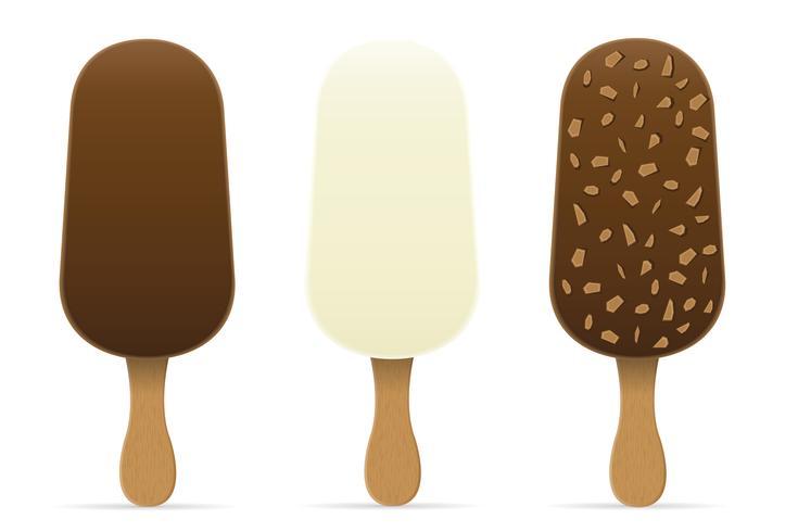 Helado con glaseado de chocolate en la ilustración de vector de palo