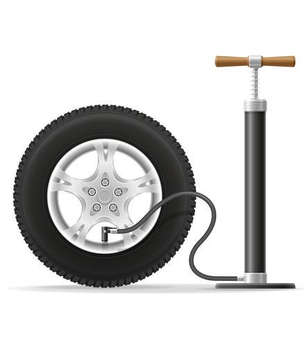 ilustração em vetor estoque carro mão bomba de ar