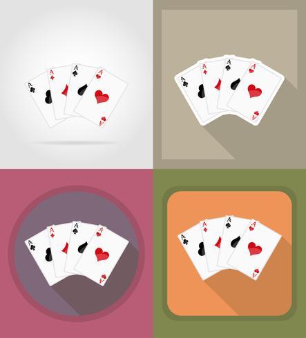 jogando cartas para ilustração em vetor ícones plana cassino