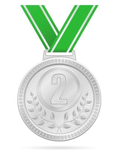 Medalla ganadora deporte plata stock vector ilustración