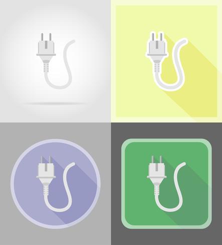 elektrisk kontakt platt ikoner vektor illustration