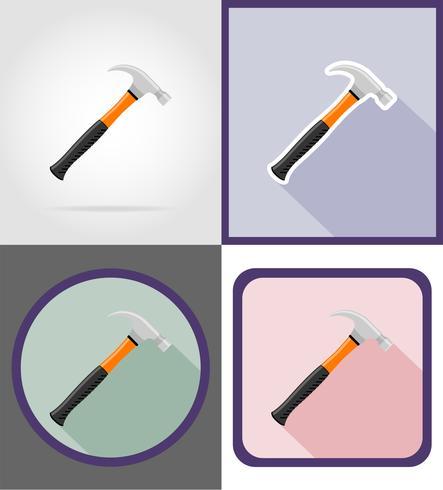 illustrazione piana di vettore delle icone del martello di riparazione e degli strumenti della costruzione