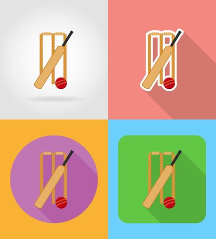 set apparatuur voor cricket plat pictogrammen vector illustratie