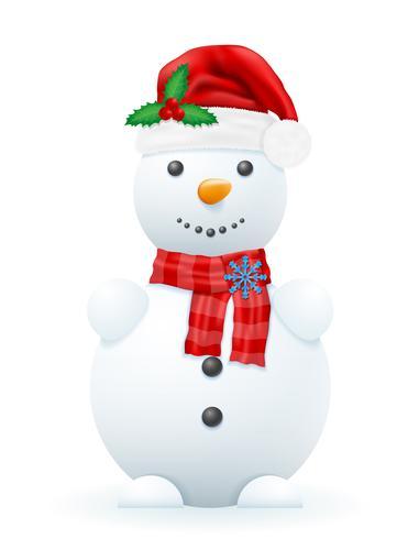 boneco de neve em uma ilustração do vetor de chapéu de Papai Noel vermelho