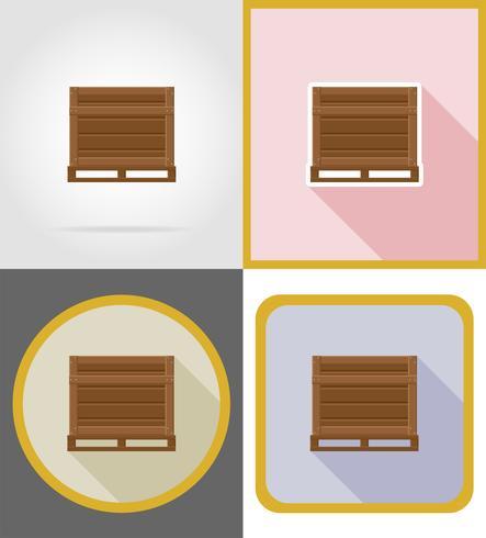 Ilustración de vector de iconos planos de caja de madera de entrega