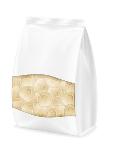 dumplings pelmeni av deg med fyllning i förpackad vektorillustration