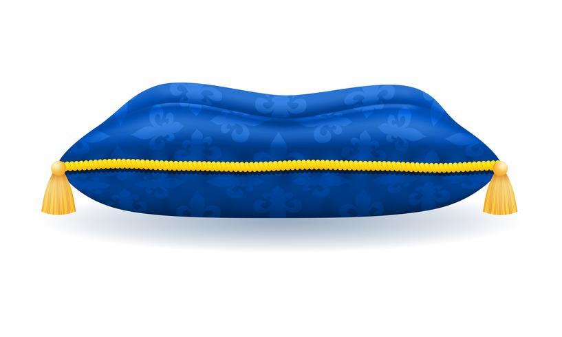 blauw satijn kussen met gouden touw en kwastjes vector illustratie