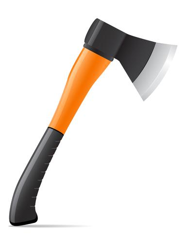 tool axe with plastic handle vector illustration