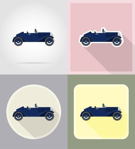 viejo coche retro iconos planos vector illustration