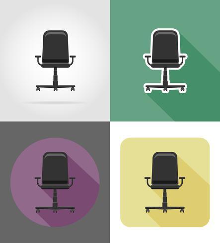 armchair furniture set flat icons vector illustration