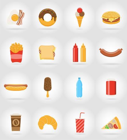 Iconos planos de comida rápida con la ilustración de vector de sombra