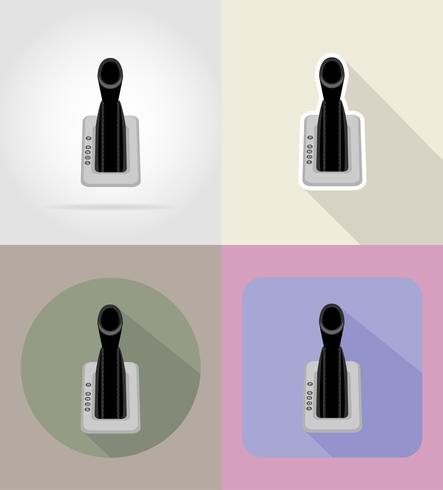 car gear lever flat icons vector illustration