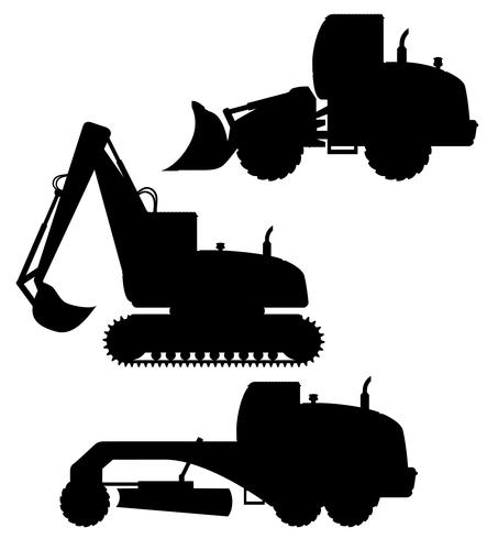 car equipment for road works black silhouette vector illustration