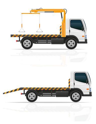 camión de remolque para fallas de transporte y autos de emergencia vector illustration