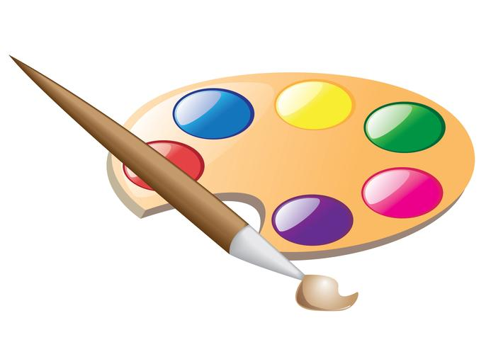 palette and brush for drawing vector