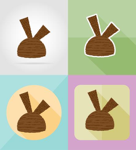 Ilustración de vector de iconos planos de helado