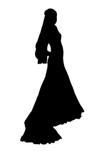illustrazione vettoriale silhouette sposa realistico