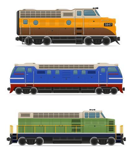 establecer iconos ferroviarios locomotora tren ilustración vectorial