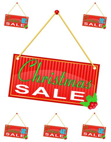 red sign label with the inscription christmas sale hanging on a rope vector illustration