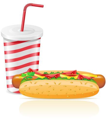vaso de papel con soda y hotdog vector
