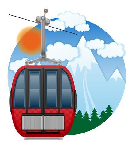 cabine ski kabelbaan embleem vectorillustratie vector