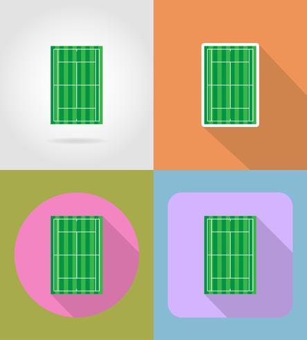 Ikonen-Vektorillustration des Tennisplatzes flache