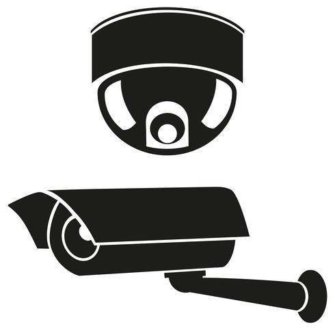 Iconos en blanco y negro de cámaras de vigilancia. vector
