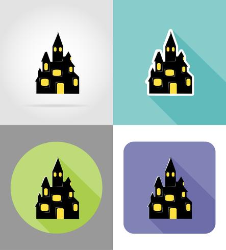 halloween old castle flat icons vector illustration
