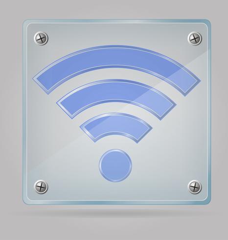 sinal transparente wi fi na ilustração vetorial de placa