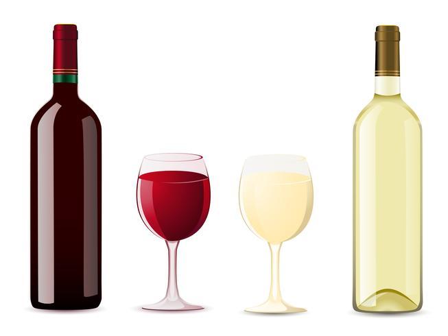 flaska och glas med rött vitt vin