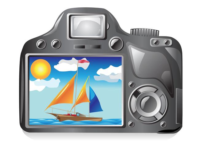 photo camera and image photography vector
