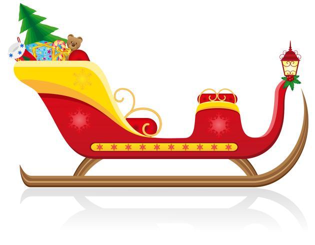 trenó de Natal do Papai Noel com ilustração vetorial de presentes
