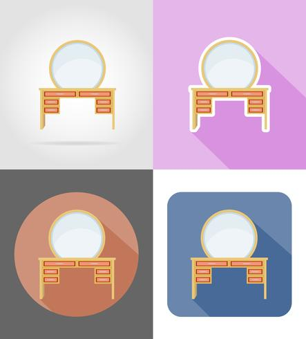 mobília de mesa vaidade definir ilustração em vetor ícones plana