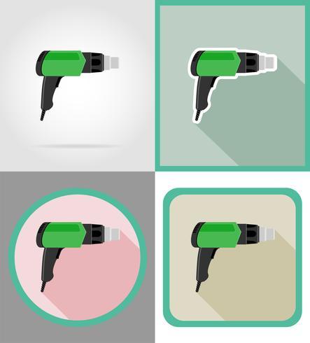ferramentas de secador elétrico para construção e reparação de ícones plana ilustração vetorial