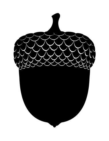 Schwarze Umrissschattenbild-Vektorillustration der Eicheneicheln