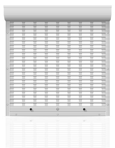 metal perforated rolling shutters vector illustration