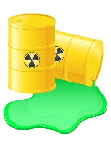 Ilustración de vector de residuos radiactivos de barriles amarillos derramados