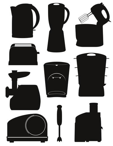 set icons electrical appliances for the kitchen black silhouette vector illustration