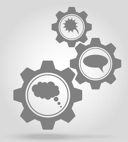 speech bubbles gear mechanism concept vector illustration