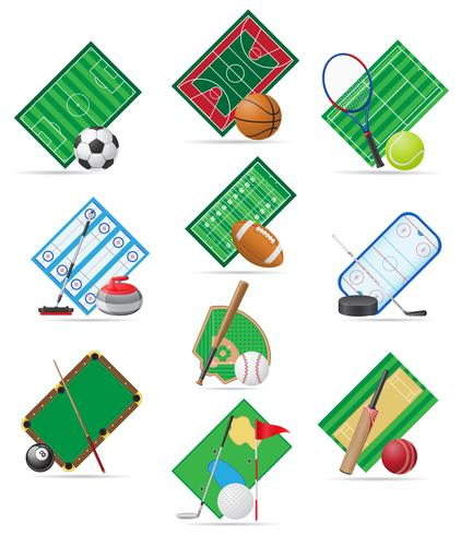 impostare icone illustrazione vettoriale di sport