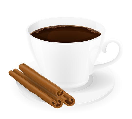 Taza de café con la ilustración de vector de palitos de canela