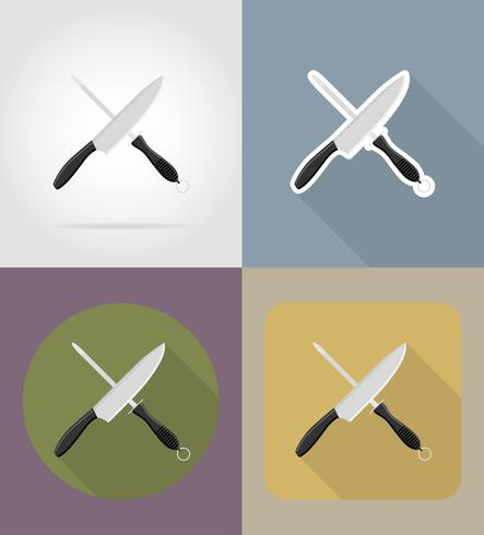 knife sharpener objects and equipment for the food vector illustration