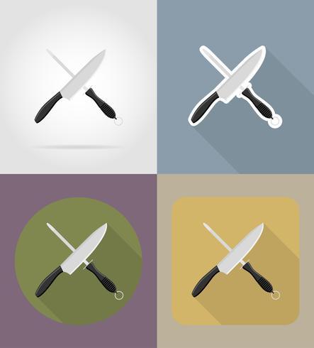 knivskarpareobjekt och utrustning för matvektorillustrationen